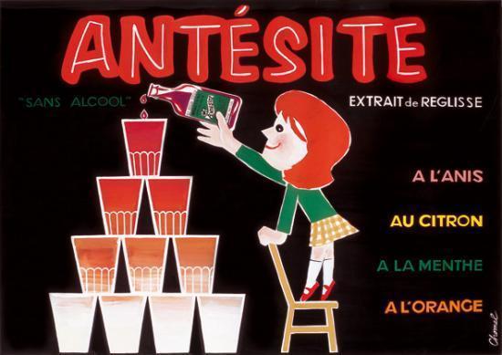 Antesite - Ancienne affiche publicitaire 'Antésite sans alcool'