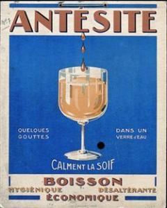 Antésite - Ancienne affiche publicitaire bleue