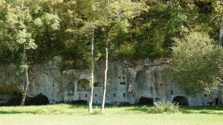 Chateau de Commarque - Habitats troglodytes face au chateau