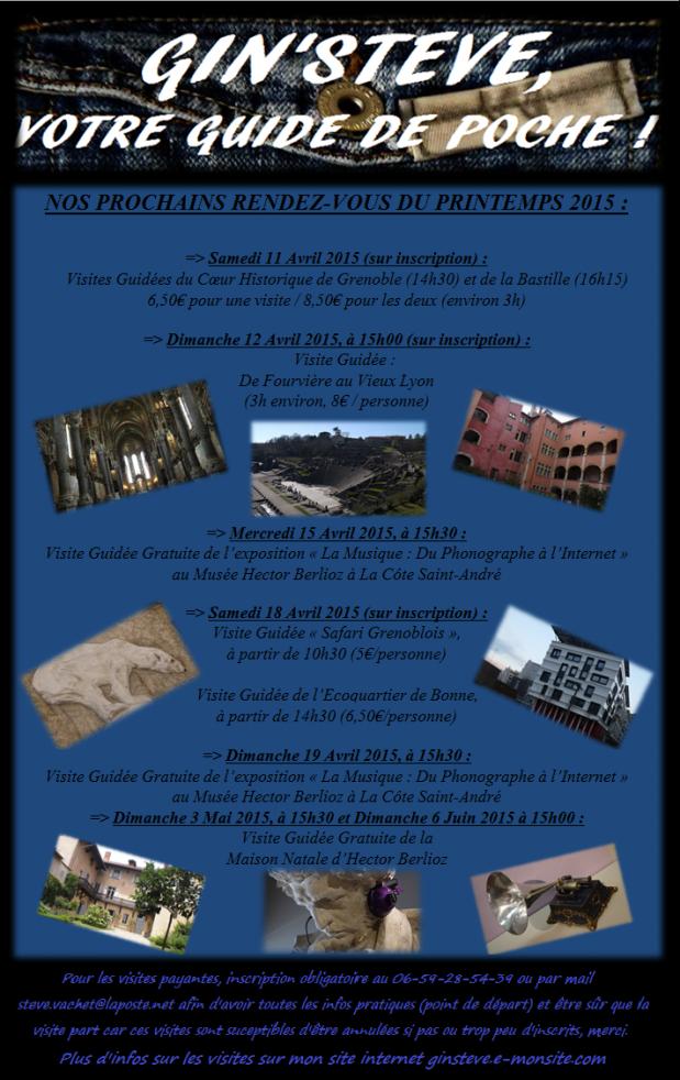 Mon programme de visites guidées du printemps 2015 !