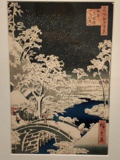 Hiroshige - Le pont Taiko et la colline Yûshi à Meguro