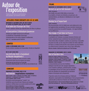 Programme des animations autour de l'exposition