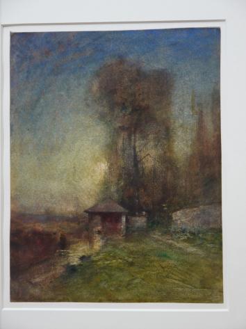 Musee de Grenoble - De Delacroix à Gauguin - Lavoir au bord d'un ruisseau. Soleil couchant (Francois Auguste Ravier)