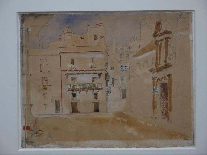 Musee de Grenoble - De Delacroix à Gauguin - Une place à Cadix - Eugène Delacroix vers 1850