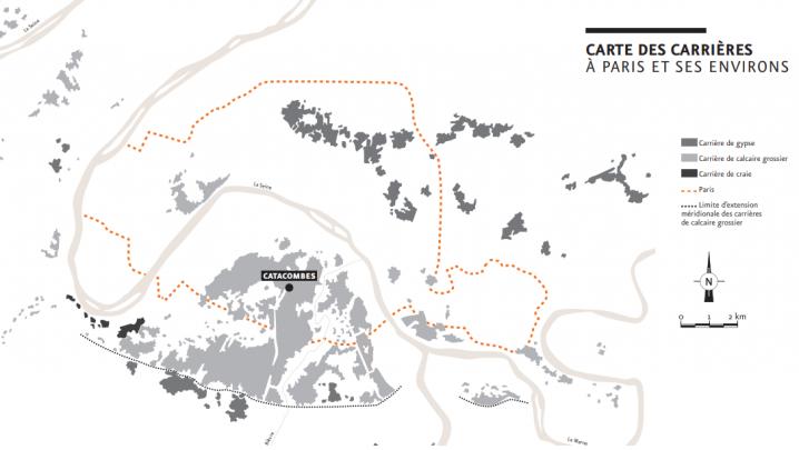 Paris - Catacombes - Carte des carrières à Paris et ses environs