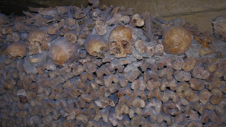 Paris - Catacombes - Une hague d'ossements : un mur de fémurs et de crânes et derrière les autres ossements en vrac