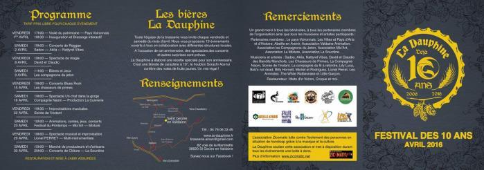 Programme Animations 10 ans La Dauphine - Brasserie du Val d'Ainan