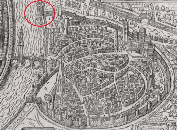 Tour de l'isle sur le Vray Portraict de la ville de Grenoble (1575)