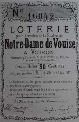 Voiron - Ticket de loterie Notre Dame de Vouise