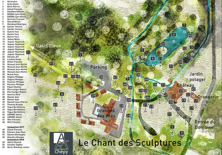Domaine Saint Jean de Chépy - Plan du chant des sculptures en 2018