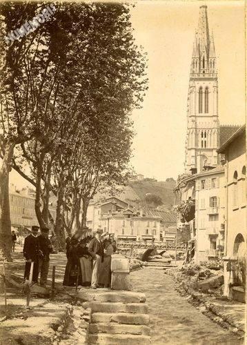 Inondation 1897 - La Morge à découvert le long du Mail