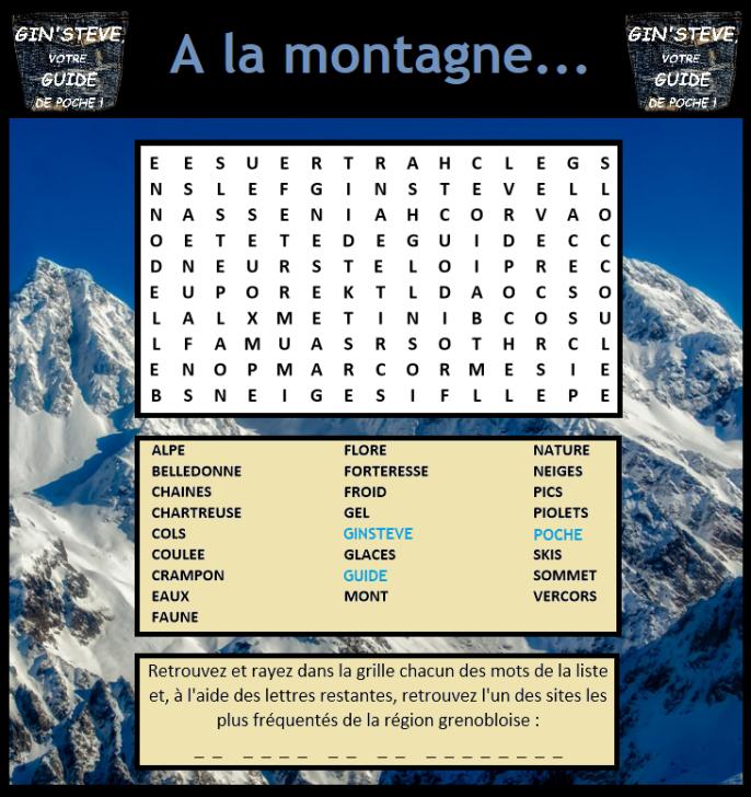 Mots mêlés n°1 : A la montagne